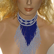SOLD Vintage Royal Blue & White Hand Beaded Choker Necklace by African Tribe Member