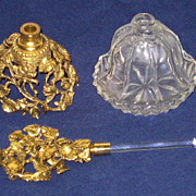 Vintage Signed Matson Glass & Floral Metalwork Perfume Bottle w/Dauber