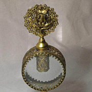 Vintage  Gold Filigree Perfume Bottle with Floral Top/Dauber & Beveled Glass Center