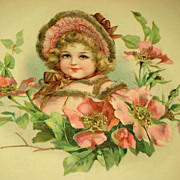 SOLD Victorian Celluloid Collar Box with Frances Brundage Girl in Pink Bonnet, Dress & Flowers