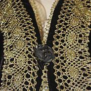 SALE Vintage Bryan Emerson Velvet & Gold Metallic Vest w/ Netted Back-Never Used