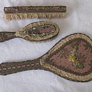 3 Piece French Metallic Lace Ribbon Flowers Vanity Set-Hand Mirror, Brush & Comb in Holder