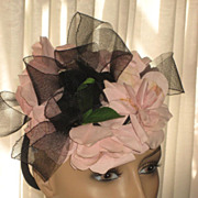 1940's Tilt Top Hat with Pink Fabric Flowers & Stiff Black Mesh Ribbon Loops