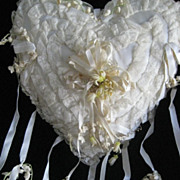 SALE PENDING 1930's Satin, Lace Heart Shape Wedding Ring Pillow-Wax & Lily of the Valley Flowe