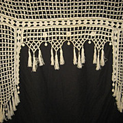 Antique French Hand Crochet Valance Pelmet w/Crochet Bobbles/Ball Dangles & Fringe
