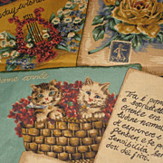 Vintage Fabric w/Collage of Antique Post Cards by Cyrus Clark  2 1/2 yards