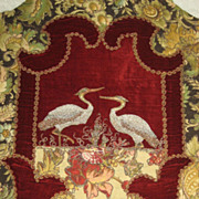 SALE Pair 19th C. French Velvet & Metallic Chair Covers with Silver Metallic Cranes