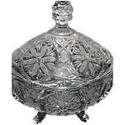SOLD Vintage Cut Crystal Footed Covered Dish with Flowers & Frosted Detail -4 lbs.