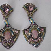 Vintage 1980's Beaded & Rhinestone Clip Earrings by Bradley