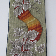 Antique Bell Pull w/Needlepoint & Beadwork-Holiday Christmas Colors