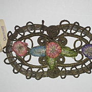 SOLD Early 1900's German Gold Metallic & Ribbon Roses Appliqué-New Old Stock-2 Available