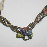 Antique German Gold Metallic & Ribbon Roses V-Shape Appliqué-New Old Stock-4 Available
