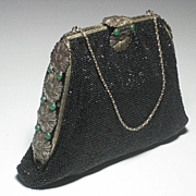 1930's Black Micro Beaded Purse with Green Jeweled Sides & Clasp