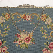 Vintage French Blue Petit Point & Needlepoint Roses Purse-2 Sided