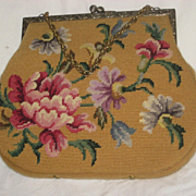 Vintage Marigold Yellow Floral Needlepoint Purse-2 Sided