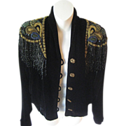 SALE Gorgeous 1980's Bryan Emerson Black Velvet Jacket w/Hand Beaded Collar & Buttons-Never