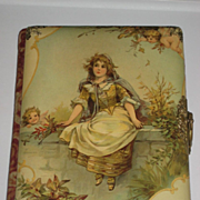 Victorian Signed Frances Brundage Celluloid Photo Album with 2 Winged Cherubs