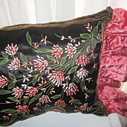 """SOLD ON HOLD FOR """"D"""" UNTIL 10/16-Breathtaking 20's French Black Satin Embroidered Pi"""