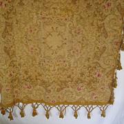 Antique Victorian Chenille Table Cover w/Tassels-Muted Gold, Beige, Burgundy & Grayish Blu