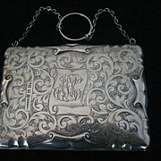 SOLD 1912 Engraved Birmingham STERLING SILVER Finger Ring Dance PURSE by P & S Ltd.