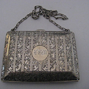 Antique Sterling Silver Satin Lined Coin Dance Card Purse