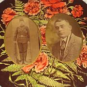 Lrg. Antique Celluloid Photo Button-Middle Eastern Men, 1 in Uniform w/Bayonet, Ammunition