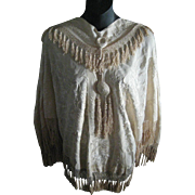 Antique Cream Silk Embroidered Shawl Cape with Tassels & Knotted Fringe