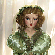 "SOLD ON HOLD FOR ""D""-PLEASE DO NOT BUY-'30's Side Glancing Boudoir Doll Green &"