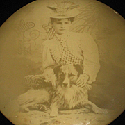 C. 1900's Celluloid Photo Button of Young Lady & Dog