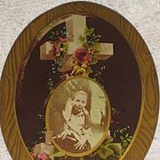 Victorian Celluloid Photo Button Post Mortem Memorial-Young Boy