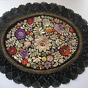 1920's Matyo Silk Embroidered Oval Doily w/Gold Metallic & Silky Lace Trim