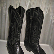 Used Justin Women's Cowboy Boots-Black Lizard & Leather-8 1/2 B