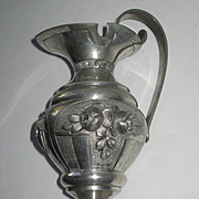 1930's French Pewter Vase/Pitcher Signed L. Houzeaux-Relief Decoration