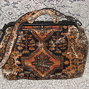 Vintage J. Peterman XL Persian Carpet Design Carpet Bag Tote w/Shoulder Strap-Never Used