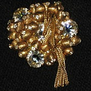 "Vintage Brooch with Gold ""Balls"", Rhinestones & Mesh Dangles"