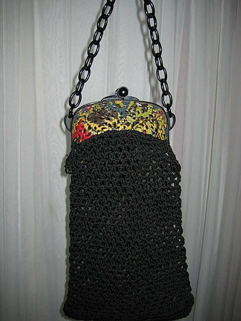 Dated 1921 French Celluloid Mottled Frame Purse w/Black Crochet Body