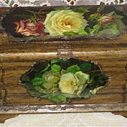 Victorian Celluloid Manicure Box w/Catherine Klein Inspired Yellow & Red Roses