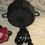 Antique Black & Steel Beaded Drawstring Purse w/Chenille Tassel-A+ Condition