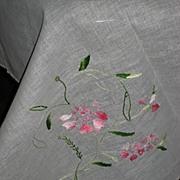 Vintage Light Blue Hand Embroidered Linen Tablecloth + 12 Napkins-Never Used