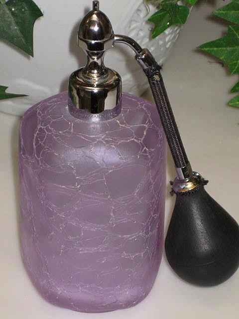 Gorgeous Vintage Marcel Franck Lavender Crackle Glass Atomizer