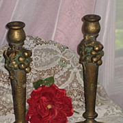 Vintage Pair of Tall Antique Gold Gesso Candlesticks w/Formed Grapes & Leaves-PARIS APT. Chic
