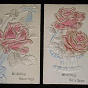 Pair of Antique 1910 Embossed Pink Roses Birthday Cards