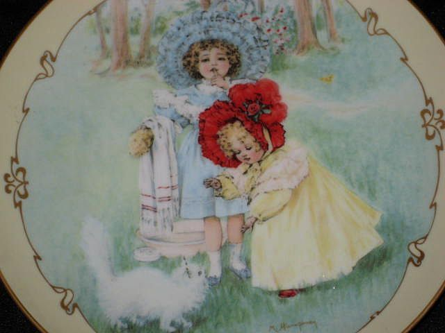 "Maud Humphrey ""Kitty's Bath"" Porcelain Collector Plate-1990-The Hamilton Collection"
