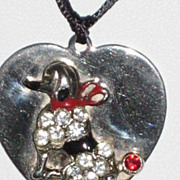 SOLD Vintage Poodle Silver Heart Pendant Necklace with Rhinestones & Enamel Work