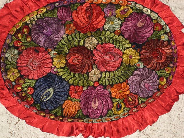 Hungarian Matyo 1920's Hand Embroidered Oval Floral Pillow Cover with Rusty Red Satin Ruffle