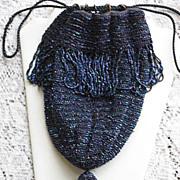 Vintage Blue Carnival Glass Beaded Drawstring Purse w/Fringe, Beaded Tassel & Bakelite Rings