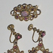 Vintage Brooch/Earring Set-Faux Pearls, Amethyst Color Glass Stones & Opalescent Glass Bead