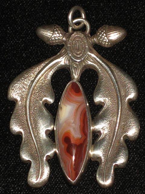 Vintage Sterling Pendant w/Ocean Jasper Stone-Signed Gurdal