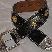 "1980's Al Beres 3"" Wide Black Leather Concho Belt w/Gold & Silver Plate Conchos-Sz. 25-"