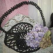 Antique French Black Beaded Mourning Funeral Basket w/Huge Beaded Handle